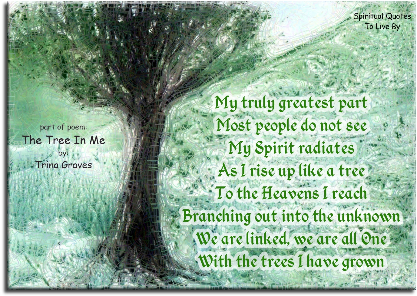 part of poem: The Tree In Me by Trina Graves - Spiritual Quotes To Live By